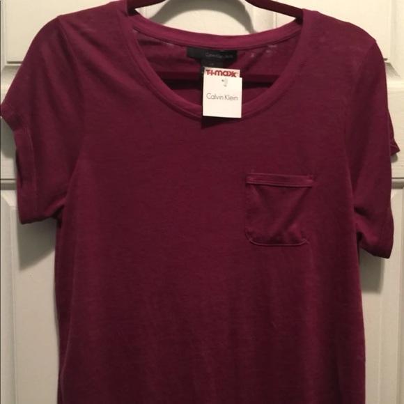 d622e58c4 Calvin Klein Tops   Maroon Burntout Pocket Tee Shirt   Poshmark
